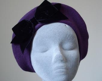Purple Hat- Purple Beret Hat with Black Velvet Ribbon Bow