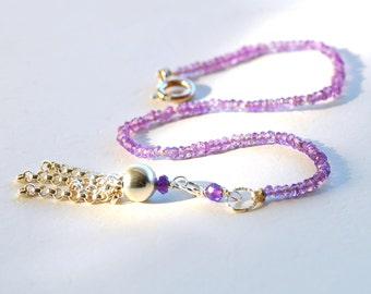 Amethyst Beaded Bracelet by Agusha.  Gemstone Bracelet with ATassel. Dainty Purple Gem Stacking Bracelet. February Birthstone Bracelet