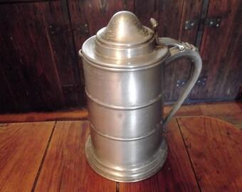 antique metal jug,bar decor, beer pitcher, barware, vintage , home decor