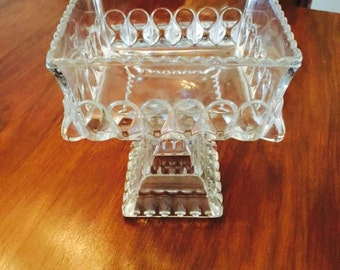 Vintage Large Glass Compote Bowl Cake Stand Box Very Old Heavy Glass 1930s
