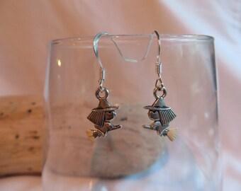 Silver Witch Earrings on Silver Ear Wires, earrings, witch, dangle