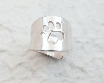 Paw Print Silver Cuff Ring