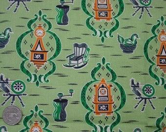 "Vintage Cotton Fabric c.1950's Cute Green Print, 34 1/2"" Wide x 1 Yard"