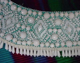 """Amazing Vintage Collar, Hundreds of White Glass Beads, All Shapes, Sizes, 3 1/2 x 30"""""""