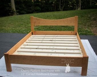 simple full size platform bed frame w 12 curved headboard custom made of hardwoods ash oak curly maple ambrosia maple walnut cherry
