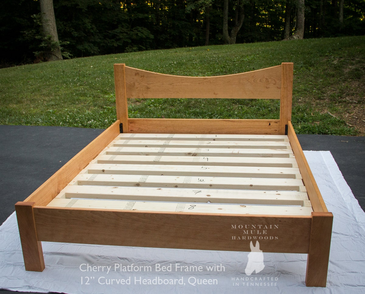 simple full size platform bed frame w 12 curved. Black Bedroom Furniture Sets. Home Design Ideas