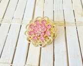Vintage Rhinestone Brooch Pretty in Pink, 1960's, Round, Golden Filigree, Scatter Pin