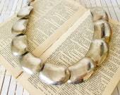 Vintage Modernist Necklace 1970's Silver Lima Bean Beads Antiqued Finish MOD Minimalist Style