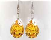 Yellow Earrings, Yellow Topaz Bridesmaids Swarovski Crystal Teardrop Earrings, Sunflower Yellow Citrine November Birthstone Earrings