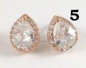 8% OFF Set of 5 Pairs Rose Gold Cubic Zirconia Earrings - CZ Teardrop Sparkling Stud Earrings Wedding Bridesmaids Prom Earrings