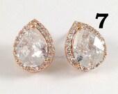 12% OFF Set of 7 Pairs Cubic Zirconia Earrings - Rose Gold CZ Teardrop Sparkling Stud Earrings Wedding Bridesmaids Prom Earrings