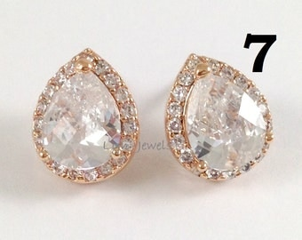 12% OFF Set of 7 Pairs Cubic Zirconia Earrings - Rose Gold CZ Teardrop Sparkling Stud Earrings Wedding Bridesmaids Prom Earrings