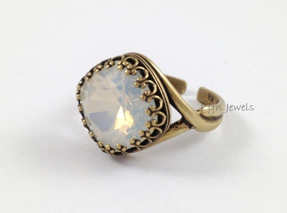White Opal Ring Swarovski Crystal Cushion Cut Square Antique