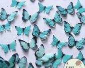 48 small teal edible butterflies, wedding cake topper, paper butterflies, wedding cake topper, waferpaper butterflies, cake pops