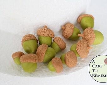 12 Gumpaste acorns for cake decorating, cupcakes, sugar acorns.