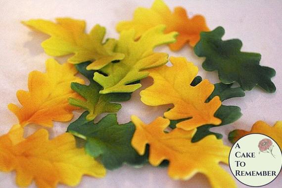 Cake Decorating Fall Leaves : 12 gumpaste Autumn Oak Leaves for cake decorating rustic fall