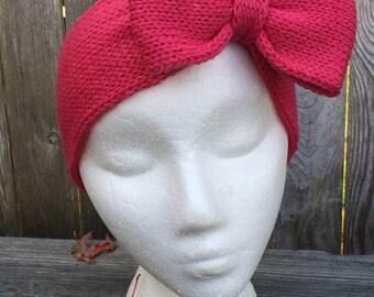 Knit Bow Headband, Knit Headband with Bow, Bow Headband, Adult Headband
