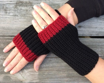 Women's Gift, Hand Warmers, Fingerless Gloves, Knit Texting Gloves, Knit Gloves,  Fingerless Mittens,  Black and Red