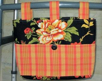 Adult Woman Walker Bag Tote Purse - Black w/Large Floral, Burnt Orange & Golden Yellow Pockets and Straps, Black Button