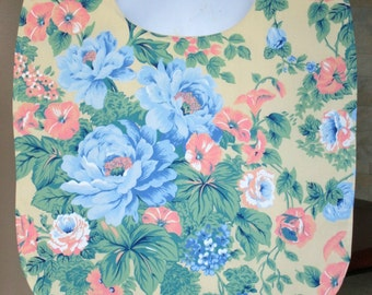 Adult Woman Garment Clothing Protector Cover Up Bib - Pastel Yellow, Blue, Green, Tangerine Large Floral