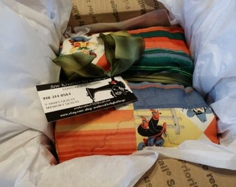 Retro Cowboy quilt for BABY.  Table topper.  1930's vintage inspired fabric. Long Arm Quilting