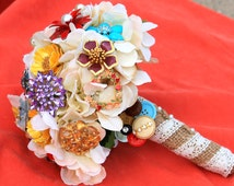 Brooch Bouquet vintage colorful lace and burlap wedding bouquet with FREE toss bouquet