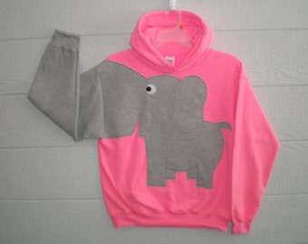 Hooded Elephant sweatshirt,  bright flourescent Pink, adult large, elephant shirt with a trunk sleeve. Elephant hoodie. fun animal shirt