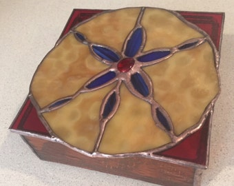 Sand dollar stained glass box