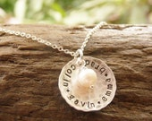 Sterling Silver Hand Stamped Cupped Hammered Disc Necklace with Kids Names