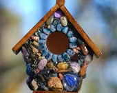 Periwinkle Blue Mosaic Birdhouse OOAK Fairy Garden Art from Oregon