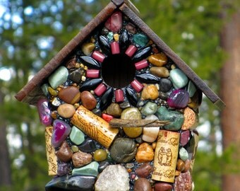 Oregon Stone Mosaic Birdhouse with recycled wine corks river rocks colorful gem stones Pacific Ocean Agates bird lover wine lover garden art