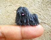 Miniature Black Puli - Tiny Crochet Miniature Dog Stuffed Animals - Made To Order
