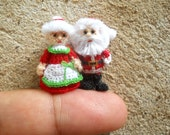 Mr and Mrs Santa Claus - Micro Amigurumi Crochet Tiny Doll - Made To Order