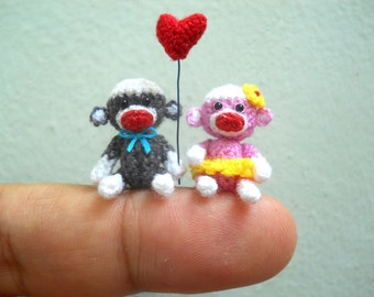 Sock Monkey Couple 1 Inch - Micro Amigurumi Crochet Miniature Monkey Stuffed Animal - Made To Order