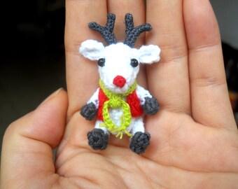 Mini Crochet Reindeer - Amigurumi Miniature Stuffed Animals - Made To Order