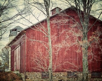 Red Barn Print or Canvas Wrap, Rustic Home Decor, Red Country Decor, Barn Photograph, Rustic Red Print, Red Barn Decor, Farmhouse Chic.