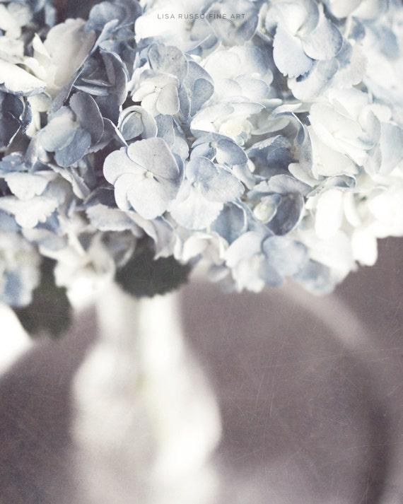Pastel Blue Flower Picture - Blue Hydrangea - Pale Blue Flower Photography - Shabby Chic Bathroom Decor - Silver - Women.