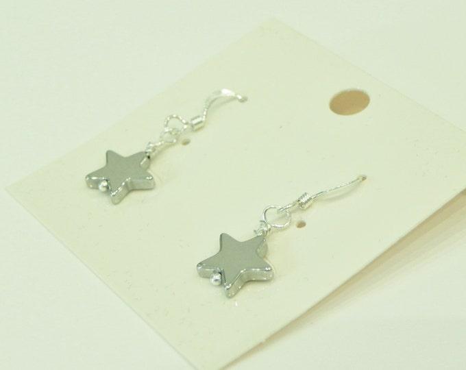 Silver plated hematite star gemstone drop sterling silver earrings|star earrings|silver earrings|hematite earrings|haematite earrings