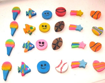 Vintage 1980's Miniature Novelty Erasers