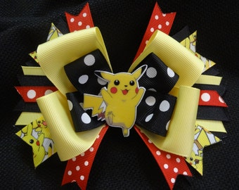 Pokemon inspired bow, pikachu 5 1/2 inch bow