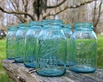 4 Aqua Ball Mason Quart Jars WITHOUT Lids ~ Vintage WEDDING Centerpiece Jars Wedding Vase ~ Perfect Mason Canning Jars ~ INSURANCE wShipping