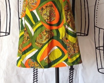 Crazy Graphic 60's/70's Fabric Skirt