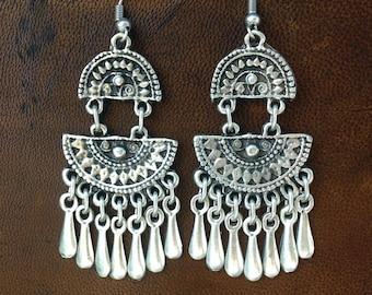 Aztec Style Silver Dangle Earrings