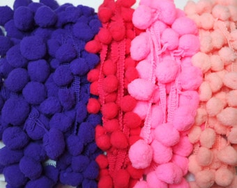 Pink and Purple Scrap Pack, PomPom Trim, Beautiful Colors, End of Rolls, Pompoms