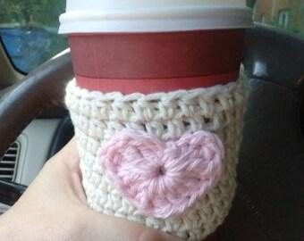 Cute Heart Cup Beverage Drink Crochet Cozy Hot Coffee Tea Gift Under 10
