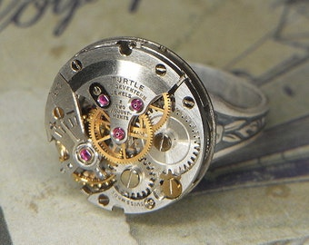 Women's Steampunk Ring Jewelry - Torch SOLDERED - Vintage TURTLE Watch Movement w Raised Bridge & Adjustable Floral Band - Ultra Clean