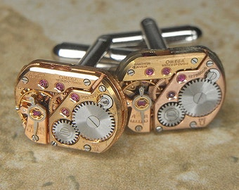 Steampunk Cuff Links Cufflinks - Torch Soldered - Antique ROSE GOLD OMEGA Watch Movements - Rare and Beautiful Pair