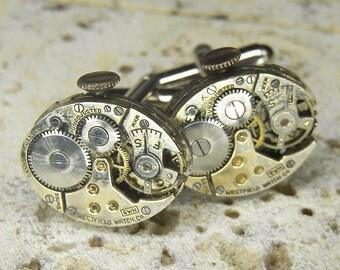 STEAMPUNK Cufflinks Cuff Links - Torch SOLDERED - Silver WESTFIELD Oval Watch Movements - Birthday Anniversary Wedding Gift - Fine Patina