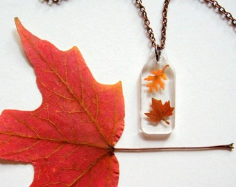 Two Autumn Leaves - Real Autumn Leaves Woodland Necklace - botanical jewelry, pressed leaves, Autumn necklace, leaf necklace, natural, ooak