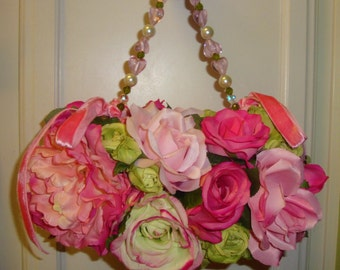 Sale Pink ROSES Handbag, Designer Custom Wedding, Floral, Velvet Ribbons, Pink Hearts Pearls, Garden Party,Handbag